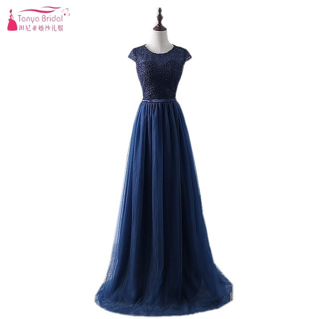 58067fe37a05 Navy Blue Prom Dress 2019 New Arrive Lace Tulle A-line Short Sleeves Formal  Long Evening Party Dress vestidos de fiesta DQG579