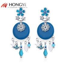 HONGYE New Fashion Brincos Blue Black Enameling Round Flower Oval Star Charms Drop Earrings Pendant Women Ethnic Vintage Style