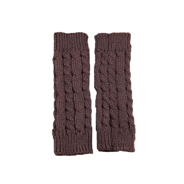 1PCS20Cm Women Gloves Stylish Hand Warmer Winter Gloves Arm Crochet Knitting Faux Wool Mitten Warm Fingerless Gloves Gants Femme