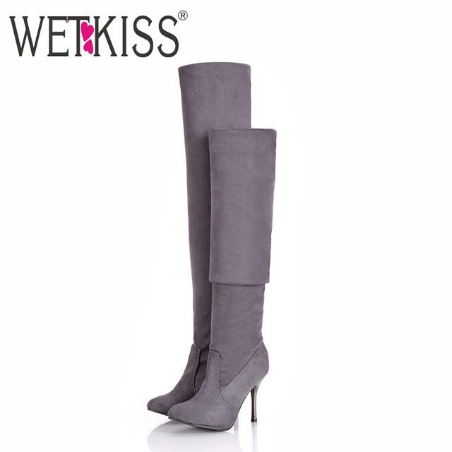 Wetkiss plegable de gran tamaño de la mujer primavera otoño invierno sobre la rodilla botas Sexy Botas de Tacón Fino de Moda dedo del pie Acentuado de Las Mujeres zapatos
