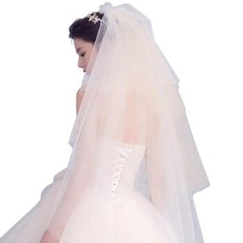 Women Wedding Dress Veil Four Layers Tulle Ribbon Edge Bridal Veils Accessories Bridal Veils