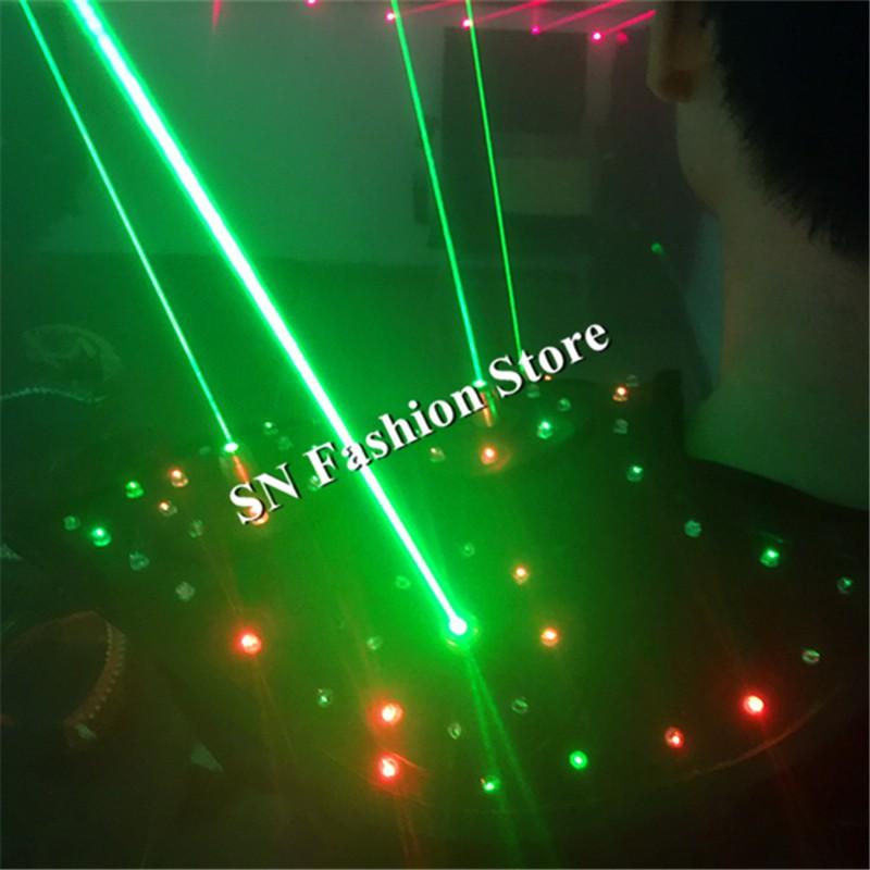 T16 Colorful light ballroom laser vest dj laser costumes dance wears laser glasses red laser suit led clothes shoulder led vest 17