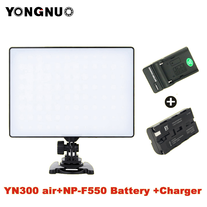 YONGNUO YN 300 YN300 Air Camera LED Video Light Panel On Camera 3200K 5500K with Battery Charger for Canon Nikon Live Stream