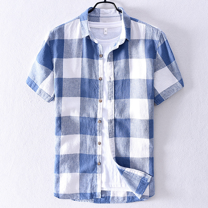 2019 Mens Plaid Linen Short-sleeved Shirt Summer Cotton Shirt For Men Brand Trend Shirts Men Fashion Casual Shirts Male Chemise