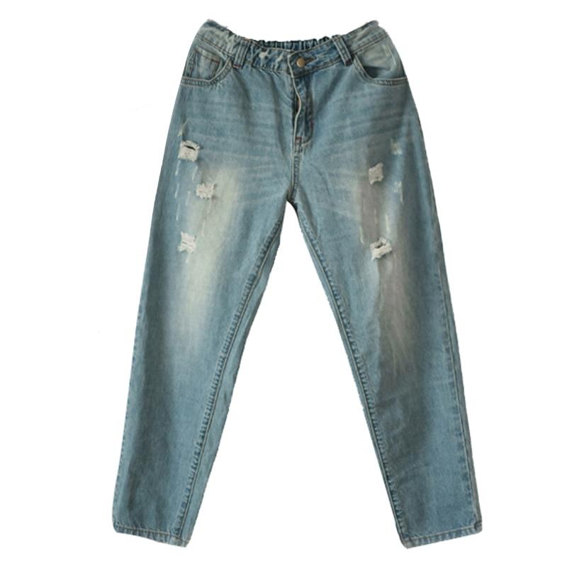 Azul Pantalones Mujer Lrcp Primavera Loose Otoño Vintage Denim Algodón Ripped APwUzwqx