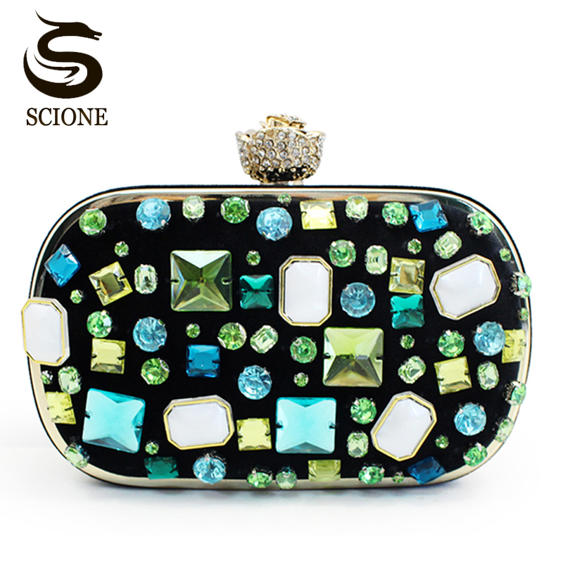 Hot Fashion Women Girls Evening Clutch Bags Emerald Jewelry Bags Beaded Green Clutches Lady Wedding Party Banquet Bags Purses hot evening bag wedding women austrian diamond aluminium female shinestone banquet wedding party lady beaded prom clutch bags