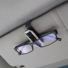 New Style 1pcs Durable Rhinestone Car Glasses Clip ABS Plastic Sun Visor Sunglasses Frame Card Holder Paper