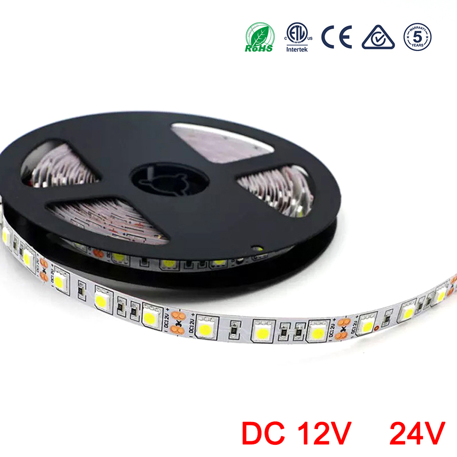 12V 24V LED Strip RGB 5050 SMD 60LEDs/m LED Light Strip DC 5 M 12 24 V Volt Ledstr Ambilight Waterproof Lamp Ribbon TV Backlight