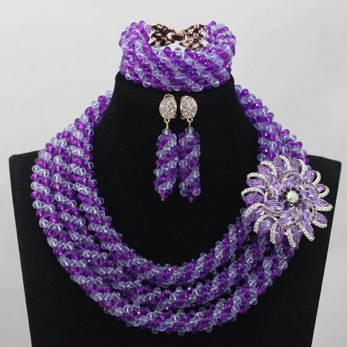 Комплект ювелирных изделий из фиолетовых и лиловых кристаллов, Подарочный Женский комплект ювелирных изделий с фиолетовыми и фиолетовыми