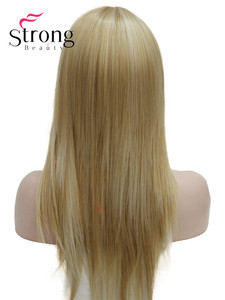 Image 3 - StrongBeauty Long Straight Ash Blonde with Light Blonde Highlights Synthetic Wig Womens Hair wigs