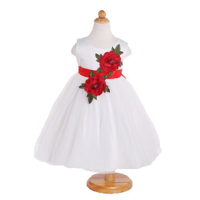 Wedding dress baby girl bordado floral para niño recién nacido 1 año birthday party dress ropa de navidad custumes 2017 nuevo