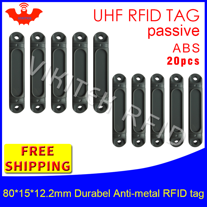 UHF RFID metal tag 915m 868mhz Impinj Monza4QT EPC 20pcs free shipping durable ABS  fixture tools smart card passive RFID tags rs232 uhf rfid fixed reader impinj r2000 with 4 antenna ports for marathon sporting provide free sdk and sample card and tag