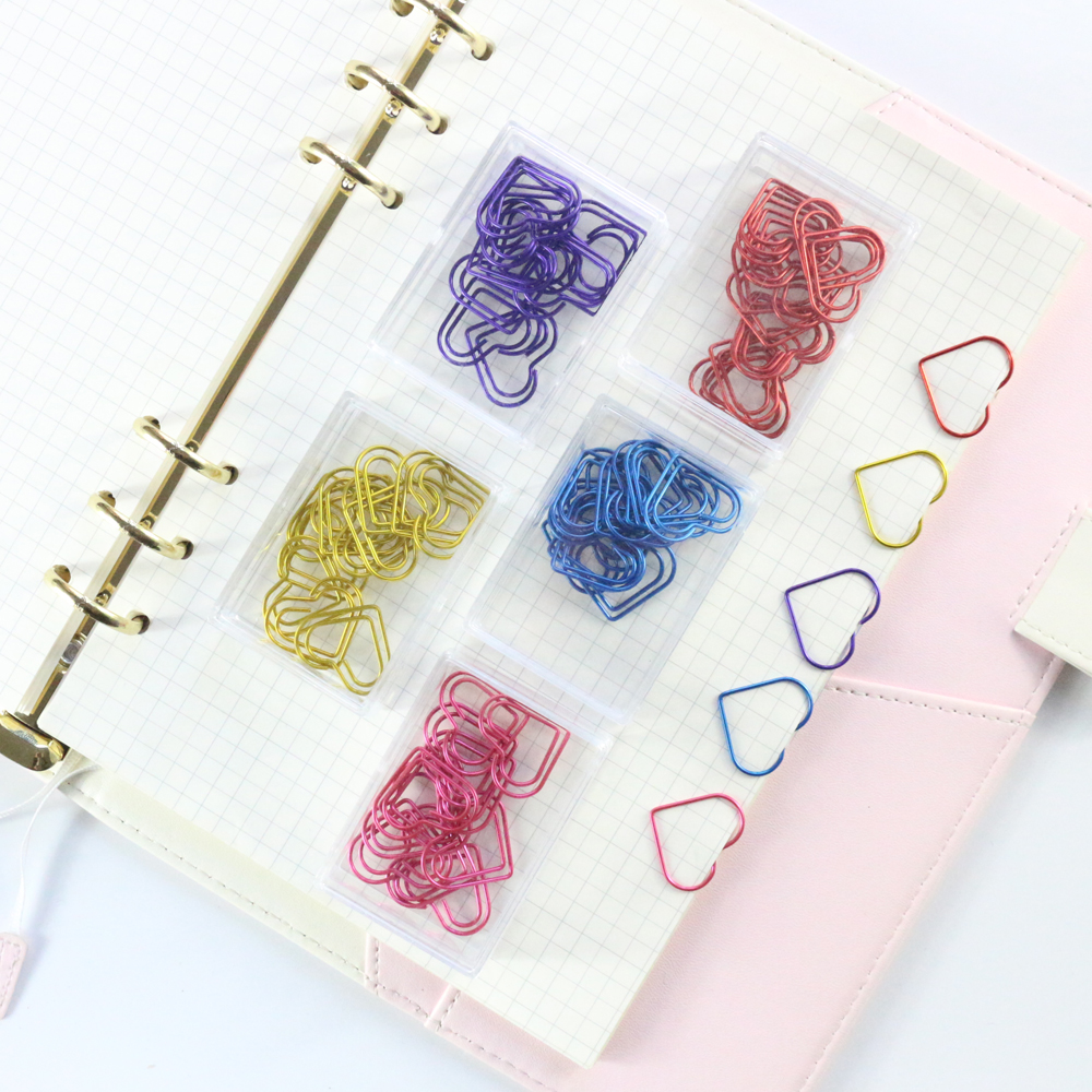 Domikee 2019 New Cute Colored Love Heart Design Office School Paper Clips Stationery,candy Student Bookmark,12pcs/box,5 Colors