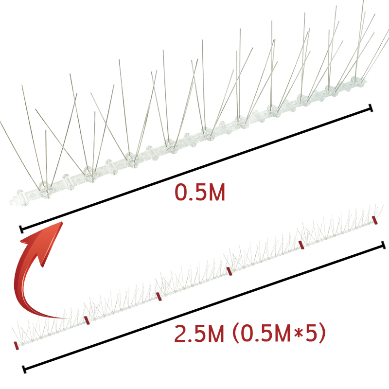Image 3 - 0.5M/1M/2M/3M/5M Stainless Steel Pigeon Swallow Sparrow Bird Spikes Defender Anti Bird Gone with Flexible Plastic Base Strips-in Repellents from Home & Garden