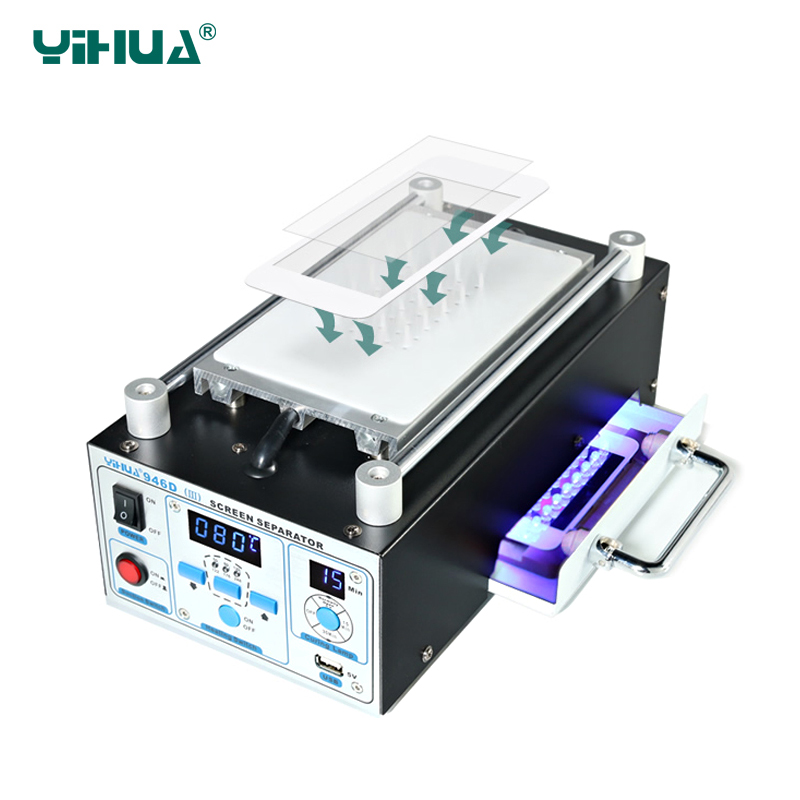 YIHUA 946D-III LCD separator built-in strong suction vacuum pump separator phone glass split screen repair LCD separator machine цены