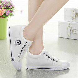 Summer Sneakers Wedges Canvas Shoes Women Casual Shoes Female Cute White Basket Stars Zapatos Mujer Trainers 5 cm Height tenis 5