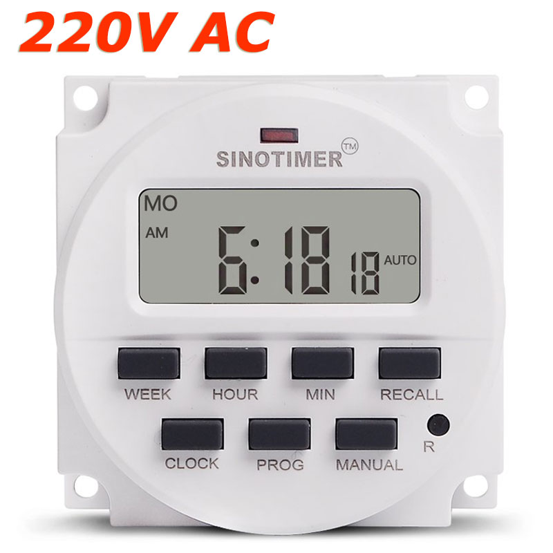 BIG LCD 1.598 Inch Digital 220V AC 7 Days Programmable Timer Switch With UL Listed Relay Inside And Countdown Time Function