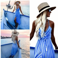 Backless Spaghetti Strap V Neck Irregular Sleeveless Striped Splits Dresses for Sexy Club Beach Boho Dress