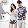 Verão Amantes de manga Curta-Sleepwear Masculina Fina's Ou Relaxado Casais do Sexo Feminino 100% Algodão Salão 100% Sleepwear