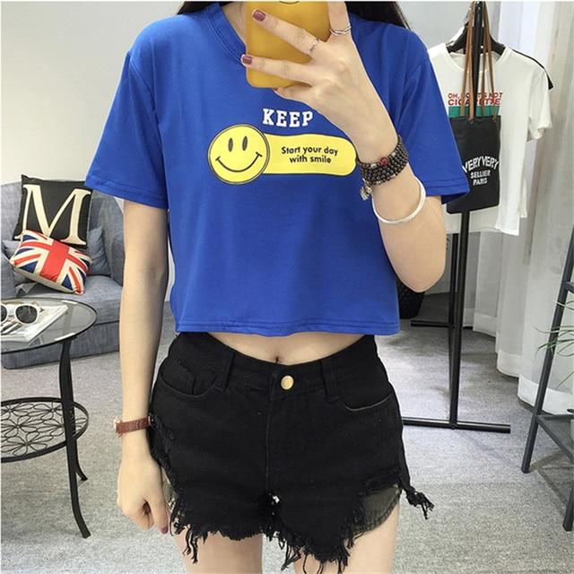 86c8d114b027ee Summer Cool High Waist Short Sleeve Smiley Face Printed Female T-shirt Cute  White T