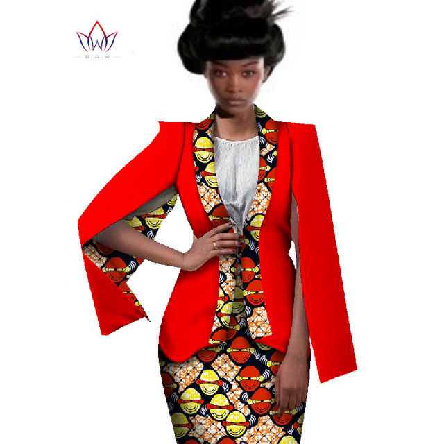 African Women Clothing Two Piece Set Women Dress Suit Crop Top and Skirt Blazer Women Bazin Riche Women African Clothing WY551