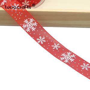 Image 5 - Lucia artesanato 5 quintal 10mm/25mm floco de neve organza fita diy bowknot presente embrulho para o natal decorp0303