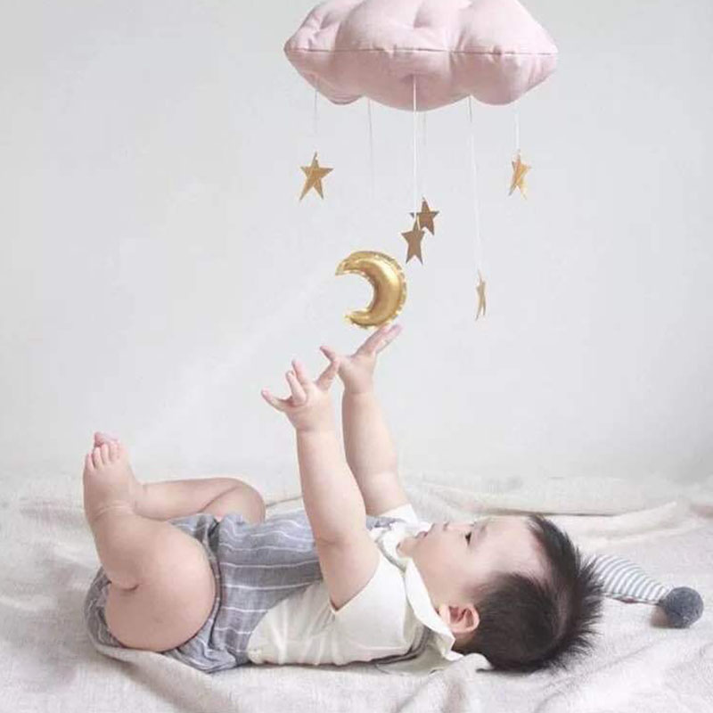 Baby Toys Bedding Rattles Hanging Ornament Bedroom Crib Wall Decor Clouds Golden Moon Stars Style Photo Props Toy 0-12 Months