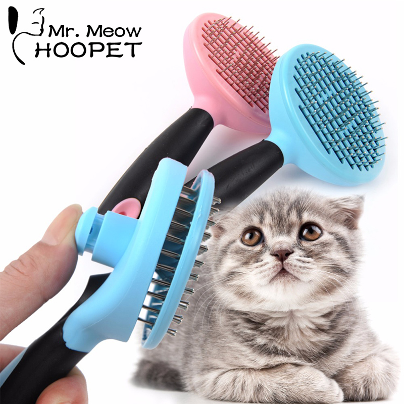 Hoopet Pet Dog Cat Hair Brush Grooming Tools Stainless Steel Massage Bath Comb Rake Puppy Kitten Shedding Hair Remover Brush