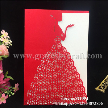 50pcs free shipping laser cut pearlescent paper princess pocket design birthday wedding invitation cards with inner blank page