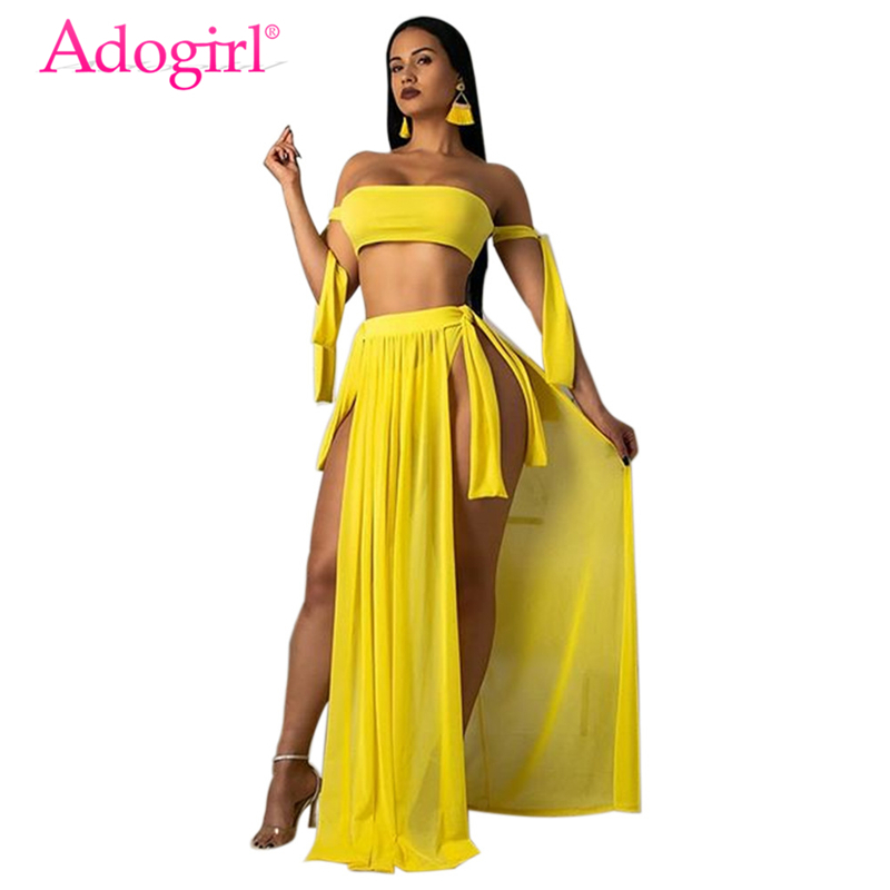 Adogirl Solid Tankini Swimwear Summer Beach 3 Piece Set Strapless Lace Up Tube Top + Panties + Side Slit Maxi Skirt Beach Dress