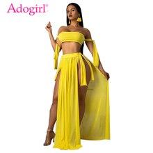 Adogirl Solid Tankini Swimwear Summer Beach 3 Piece Set Strapless Lace Up Tube Top + Panties + Side Slit Maxi Skirt Beach Dress double slit lace up mini skirt