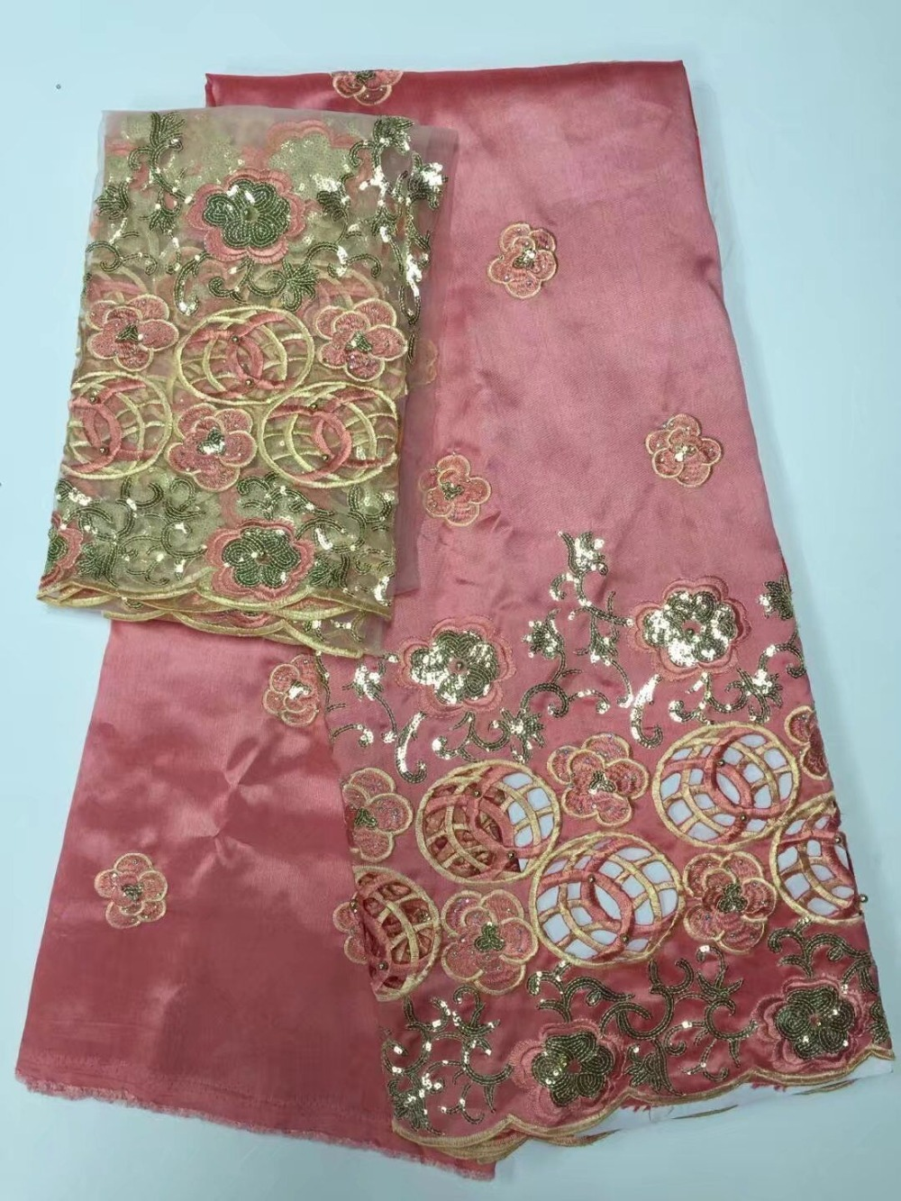 Latest Popular Design Peach Sequin Fabric 5 Yards
