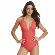 цена на Fashion Bikini Swimsuit Solid Color Halter Women's One Piece Swimsuit Beachwear Beach Bathing Suits