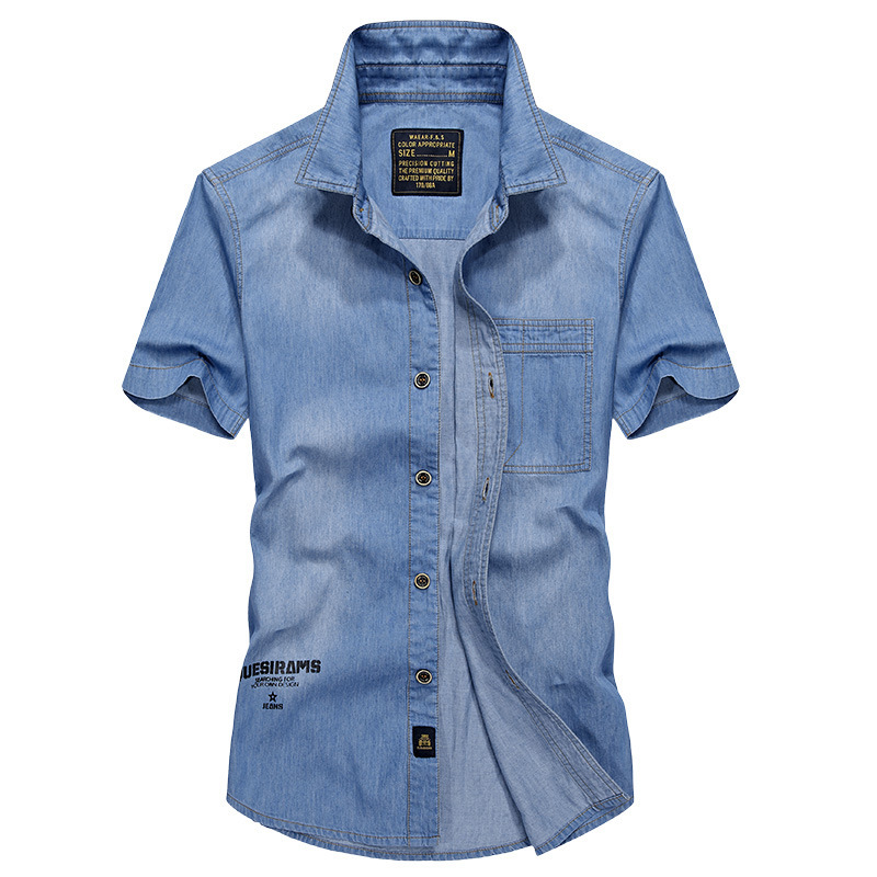 Denim Shirts Men Short Sleeve Letter Printed Italy Style Blue Jeans Shirts camisa social masculina IN-YESON Clothing Big Size