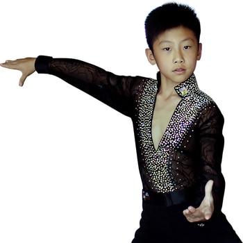 Durable Latin Dance Shirt For Children White Black Blue Good Quality Tops Males Modern Frock Jacket Boys Ballroom Fabrics Y10495