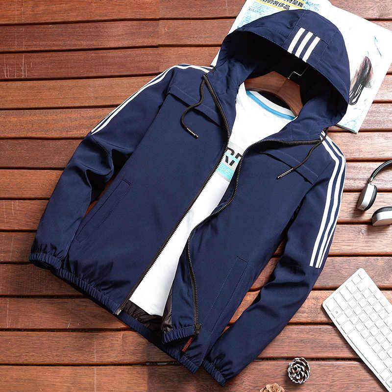 2019 мужская куртка на молнии, весенне-осенняя Модная брендовая приталенная мужская повседневная бейсбольная куртка-бомбер, Мужское пальто, большие размеры 4XL