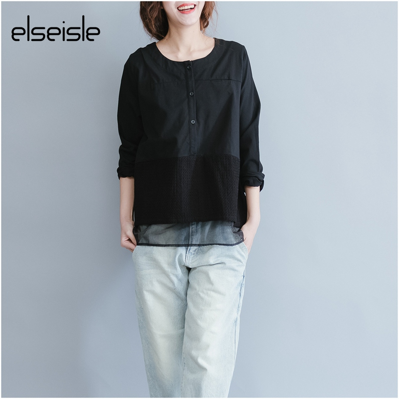 elseisle 2017 Lace Blouse Korean Style Women Tops and Blouses Lace Vintage Ladies Shirts Long Sleeve Blusas Femininas Haut Femme