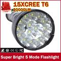 20000 Lumens 15 x CREE XM-L2 LED 5 Light Modes Waterproof Super Bright Flashlight Torch with 1200m Lighting Distance