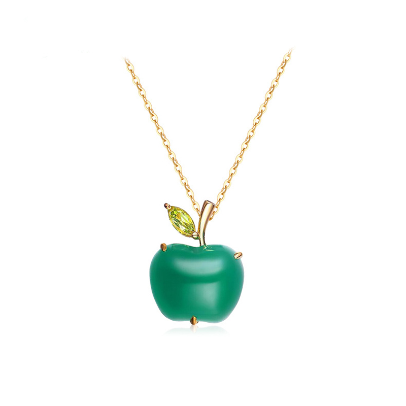 Christmas Eve Green Agate Apple Olivine Leaf Pendant Necklace for Women 925 Sterling Silver Exquisitely Japanese Korean style