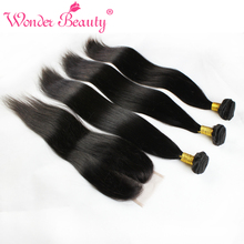 Peruvian Virgin Hair Straight With Closure 3 Bundle Deals Wonder Beauty Unprocessed Straight Human Hair Weave