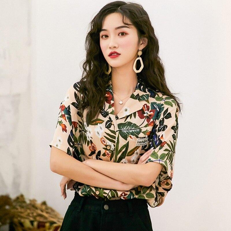 2019 Womens Tops And Blouses Leaves Print Turn-down Collar Hawaiian Style Short Sleeve Chiffon Blouse