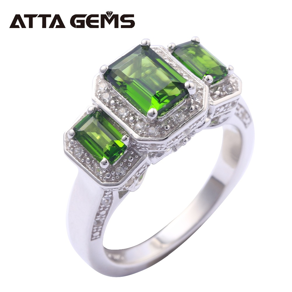 Natural Diopside Sterling Silver Rings for Men and Women 6 5 Carats Faced Cutting Natural Chrome