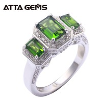 Natural Diopside Sterling Silver Rings for Men and Women 6.5 Carats Faced Cutting Natural Chrome Diopside Wedding Band Gifts