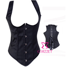 Pinstripe Full Back Underbust Bustier Corpete Sexy Waist Cincher Corset Women's Corselet Body Shaper Intimates