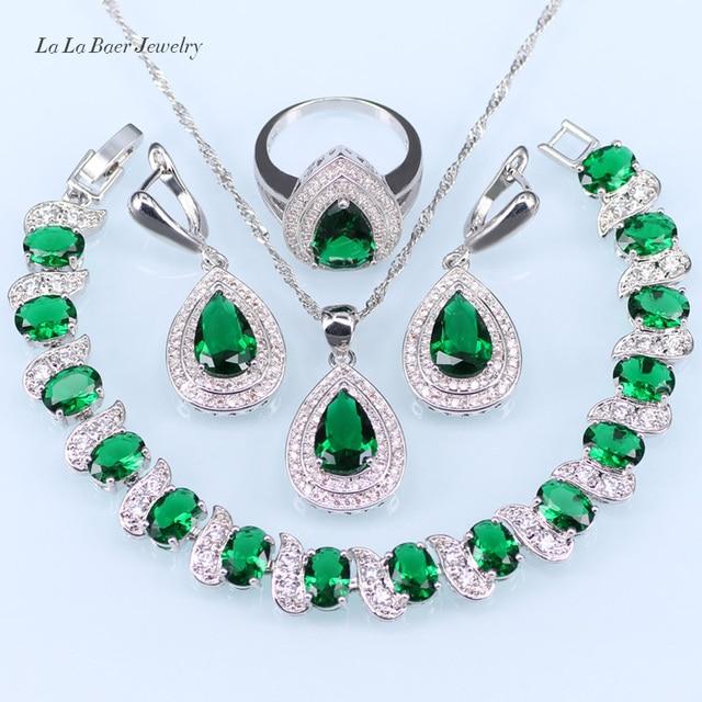 52be0d306731 L   B Venta caliente verde creado Esmeralda cristal blanco 925 logo plata  color boda Juegos