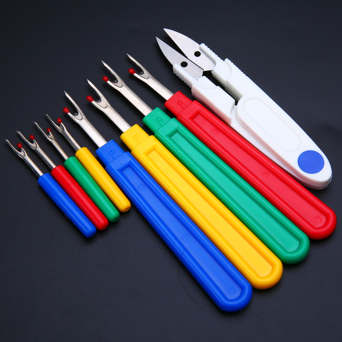 9pcs/set Small/Large Seam Ripper Stitch Unpicker Sewing Tool with Thread Cutter Plastic Handle DIY Craft Tool Accessories
