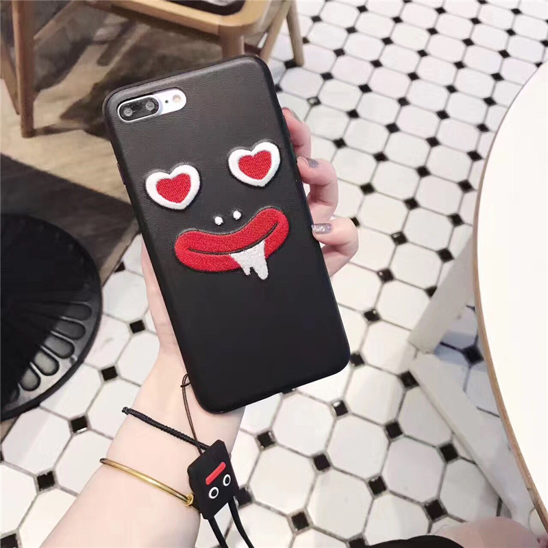 Luxury Embroidery Case For iPhone7 7Plus New Fashion 3D Smile Emboridery Back Cover Coque Funda PU Leather Cases For iPhone7plus