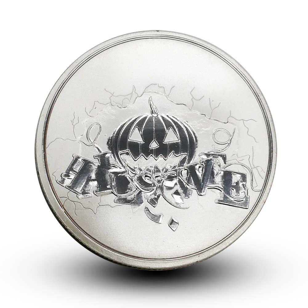 Thách thức Đồng Xu Halloween Bù Nhìn Phù Thủy Tiền Xu Đèn Lồng Bí Ngô Tôn Giáo May Mắn Cầu Nguyện Đồng Xu Sáng Tạo Ma Thuật Quà Tặng Phù Thủy
