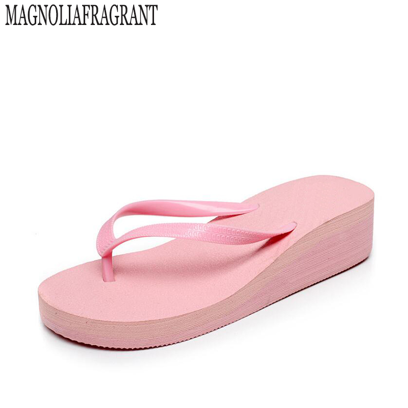 2017 candy-colored flip flops female summer beach slippers with pure color in sandals slope with high heels women shoes s242