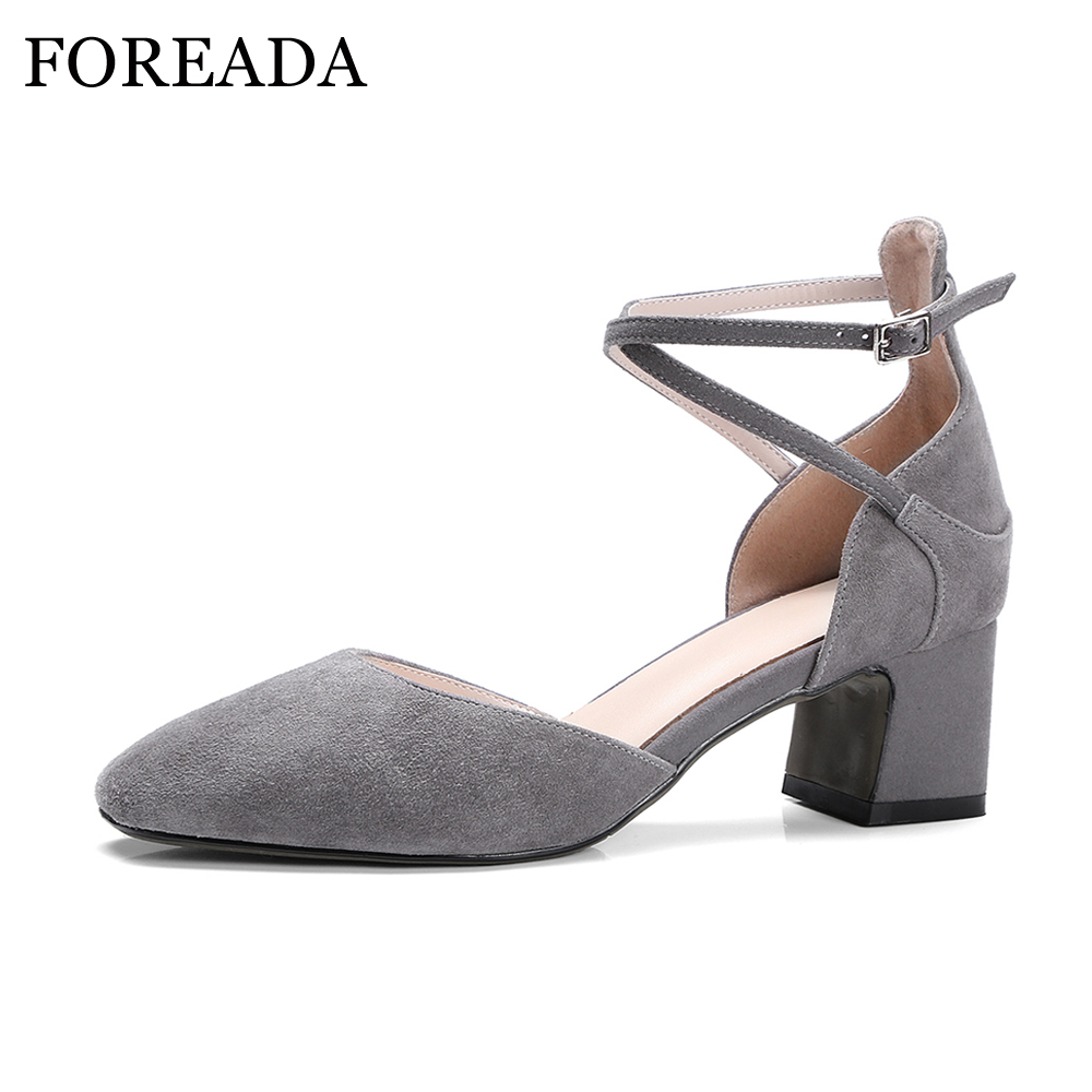 FOREADA Genuine Leather Shoes Spring Women Pumps Suede Leather Ankle Strap Thick Heels Shoes Cross Tied Two Piece Party Pumps sweet women s pumps with two piece and patent leather design